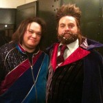 With Zach Galifianakis, on the set of IT'S KIND OF A FUNNY STORY